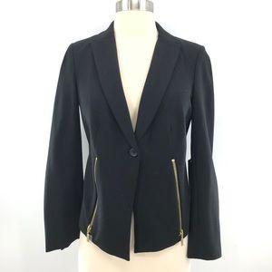 Chicos Black Label Ponte Jacket Blazer Black XS 00